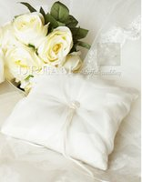 Wholesale 2015 New Arrival beige Wedding Ring Pillow Wedding Favor Sequare Design Silk Ribbon Special Unique Ring Pillow Decorations