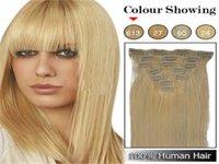 Cheap #613 lightest blonde 15-28inch 70g,80g,120g Full Head brazilian Remy Clip in hair Human Hair Extensions 7pcs set