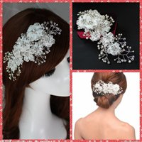 adorn artificial flowers - Manual Floral Bridal Hair Accesories Handmade Artificial Fully Rhinestone Adorned Headpiece Headwear Clips Pin Cheap Silk Flowers