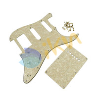 Wholesale 1Set Aged Cream Pearl Guitar Pickguard HSS Ply Guitar Back Plate for Strat