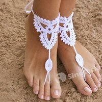 Wholesale Free DHL UPS Jewelry Barefoot Sandals Manual Anklet Bracelet Bracelets for yoga dance women Crochet Ankle Chain Factory Direct In Stock