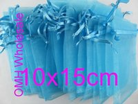 Wholesale OMH x15cm lake blue color Jewelry festival wedding Christmas voile organza Packaging gift bags BZ09A