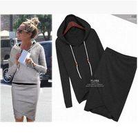 Wholesale 2016 New Fashion Hoodies Dress Skirt Long Sleeve Hoody Sweatshirts Women Coats Outwear Hooded Pullovers Sportswear Clothing Set E94