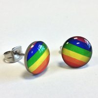 Wholesale 24 pairs multi color rainbow stud earrings plug fashionable gay pride rainbow jewelry