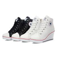 Compra Top zapatos altos zapatos del elevador-2015 Primavera insignia de cuñas de alta lazada casual ascensor zapatos de mujer zapatos de lona de alta cuña, sneakers mujer zapatillas de deporte