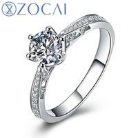 achat en gros de zocai engagement rings-Gros-ZOCAI Love Is Destin 0.45 CT Certified I-J / SI Diamond Engagement Femmes Bague en or blanc 18K (AU750) W00105