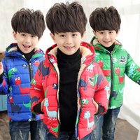 Wholesale winter boy girl Cartoon animal dinosaur hooded Plus velvet thick cotton padded jacket coat years old children baby kids printed Down Coat