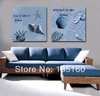 beach house colors - Retro Cool colors beach art picture room wall decorative combination conch starfish paintings Modern house decor canvas