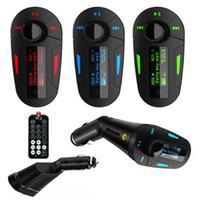 Wholesale 2015 Blue red green electronics Car Kit MP3 Player Wireless FM Transmitter Modulator audio MMC remote control rty