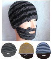 Cotton bearded beanie hat - Hats Beanie Skull Caps Bearded Wool Knitted Hats Beard Knitted Hat Warmer Ski Bike Skull Hat Unisex Men Beard Cap