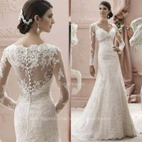Wholesale 2015 Retro illusion mermid wedding dresses with lace appliques sequins modest long sleeves V neck covered back bridal gowns BO6730