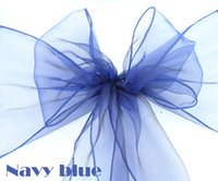 Cheap Wedding Navy blue sashes Best Organza Fabric  sashes bow