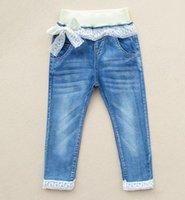 girls skinny jeans - Kids Jeans Children Clolthing Kids Denim Jean Girls Lace Long Trousers Kid Girl Skinny Tights Pants Child Pant Cowboy Trouser J4772