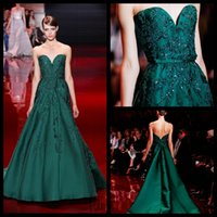 Wholesale Graceful Elie Saab Green Evening Dresses Sweetheart Satin Lace Applique Evening Gowns Vestido De Festa Longo Formal Party Dress