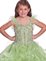 Cheap 2015 Lime Little Girls Pageant Prom Dress Beaded Off The Shoulder Organza Ruched Flower Girl Wedding Dress Junior Bridesmaid Party Gowns#R05