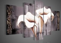 artwork texture - Hand painted Lily pale skin texture flower abstract Oil Painting canvas5pcs set artwork painted Frameless draw