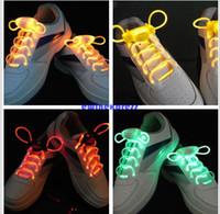 Wholesale 10 pair led flashing shoelaces light up shoes laces Fiber Optic Glowing lighting Shoe Laces Luminous Shoelaces