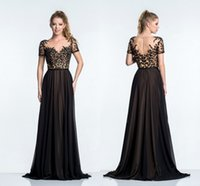 Cheap Short Sleeve Black Prom Dresses 2015 Sheer Neck Lace Appliques Ruched Chiffon Evening Dresses Full Length Hot Sale Prom Party Gowns