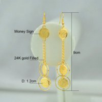 ancient coin earrings - Coin Money Sign k Gold Plated Drop Earrings Ancient Coins Muslim Jewelry Women Islamic Middle East Gold Earring Long
