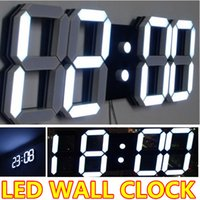 Wholesale large modern digital led wall clock watches home decoration decor alarm countdown temperature luminova hollow out d white