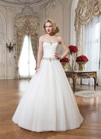 Wholesale A line Floor Length Wedding Dresses Sweetheart Off the Shoulder Sleeveless Tulle Satin Lace Up Beading Sash White Ivory Bridal Gown