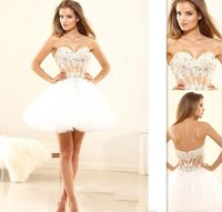 Wholesale 2015 Sexy Ball Gown Prom Dresses White Tulle Short See Through Corset Sweetheart Custom Made Homecoming Cocktail Gown Vestido Festa