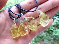 Cheap Natural citrine quartz crystal point pendant The original stone DIY manual man women fashion jewelry