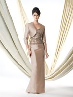 Wholesale Elegant Mother of the Bride Dresses Sweetheart With Jacket Zipper Half Sleeve Satin Lace Applique Sash Mother of the Bride Gowns M007