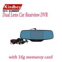 Compra Cámaras de lentes de porcelana-envío libre dual de la lente del coche dvr retrovisor DVR Espejo cámara HD 720P 30FPS 12.0mp CMOS 4.3