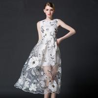 Wholesale 2016 Summer Women Dress Fashion Casual Organza Dress Elegant Runway Dresses Lady Classic White A line Slim Dress