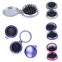 Wholesale Portable Women Cosmetic Mirror Comb Set Fold Pocket Makeup Mirror For Girl Color Choose ZXW