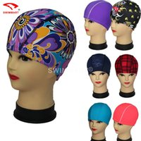 Wholesale 2016 New Adults Women Men Swimming Caps Fashion Colorful Designed Lycra Bathing Cap Pure Color Hot Sale
