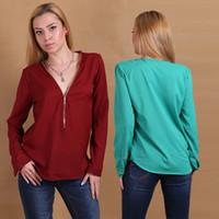 Wholesale 2015 Autumn Sexy Women s Zipper V neck Chiffon Shirt Tops Long Sleeve Fashion Casual Blouse T shirts