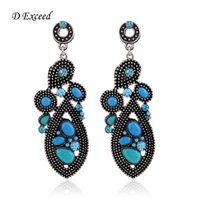 Dangle & Chandelier beaded chandelier earrings - Bohemian Style Fashion Ear Jewelry Vintage Handmade Rhinestone Chandelier Stud Earrings for Women Alloy Plate Resin Beaded Charm Earrings