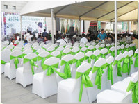 achat en gros de housse de chaise pliante banquet-Universal White Polyester Spandex Wedding Chair Covers pour mariage Banquet Folding Décor Décoration d'hôtel Hot Sale Wholesale