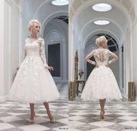 Wholesale Gorgeous Applique Long Sleeve Wedding Dresses White Tulle Elegant Tea Length A Line Vintage Portrait Sexy Sheer Back Simple Bridal Gown