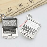 Craft bloc-notes Avis-12pcs Antique Silver Tone Computer Notepad Charms pendentifs pour la fabrication de bijoux artisanat bricolage main 21x13mm