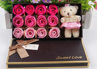 bear valentine box - 12pcs Rose Plush Bear Soap Flower Boxes Romantic Valentine Day Gift Christmas