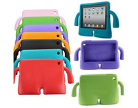 Cheap For iPad Air2 Silicone Thick Foam Shock Proof Soft Stand Tablet Case 3D Cute Cartoon EVA Kids Cover For iPad 2 3 4 5 6 Mini Retina