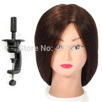 Wholesale 95 Real Human Brown cm Longest Hair Hairdressing Cutting Training Mannequin Head With Clamp