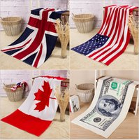 american flag towels - 300 TOPB3931 color cotton printed National American Canada England Flag beah towels bathing swim towels Shower Gym Fitness Camping Towels