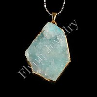 aquamarine necklace white gold - Gold Plated Natural Stone Different White Crystal Druzy Geode Dyeing Aquamarine Connector Pendant Accessories DIY Jewelry Making