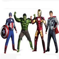Wholesale Halloween Adult Size Animation Clothing Revenge Alliance Green Giant Hulk Iron Man Captain America Thor Mascot Cotume Party Dress Free S H