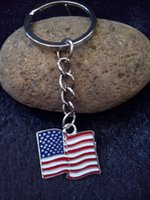 american flag enamel ring - Enamel Silver Tone Pendant Key Ring Drip American Flag Charm Keychain Bag Key Chain Decorative Jewelry