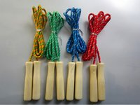 jump rope wholesale - 50Pcs Exercise School Wooden Handle Skipping Ropes Outdoor Toy Children Kid Fitness Exercise Speed Jump Rope Outdoor Sport