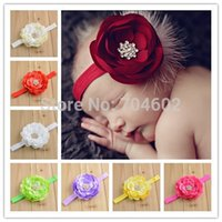 ballerina stretch - New Ballerina flowers with rhinestone on cm Shimmer Elastic Stretch Headbands Baby Girls Flower Headbands FDA43