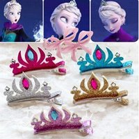 Wholesale Baby girl diamond bling crown Barrettes Tiaras kids children Anna crown hairpin Christmas party headwear COS props hair jewelry gift