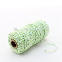 Wholesale Cotton Green Twine - Wholesale-Free Shipping 100spool Cotton Bakers twine 110yards spool Light Green and White Double Colors Wedding Packaging Bakers Twine