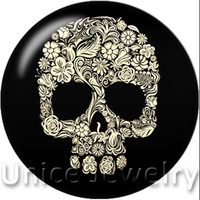 button skull - AD1301101 mm Snap On Charms for Bracelet Necklace Hot Sale DIY Findings Glass Snap Buttons Jewelry Skull Design noosa