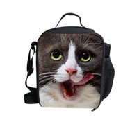 backpack camping food - Thermal Lunch Bags Cat Head Lunchbox Children Black White Picnic Lancheira Termica Dog Lunch Box Students Kids Camping Food Bags